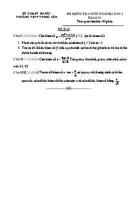 Đề kiểm tra môn Toán khối 12 (nâng cao) - Bài số 01
