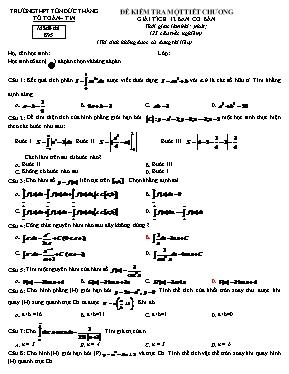 Đề kiểm tra một tiết chương Giải tích khối 12 (ban cơ bản)