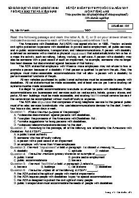 Đề tập huấn thi THPT quốc gia môn: Tiếng Anh - Mã đề thi 105
