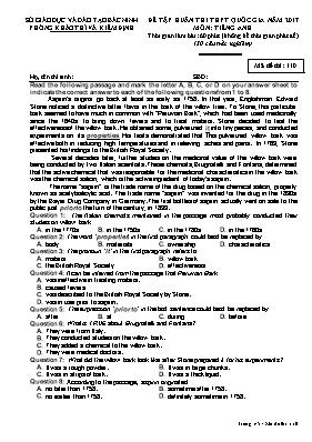 Đề tập huấn thi THPT quốc gia môn: Tiếng Anh - Mã đề thi 110