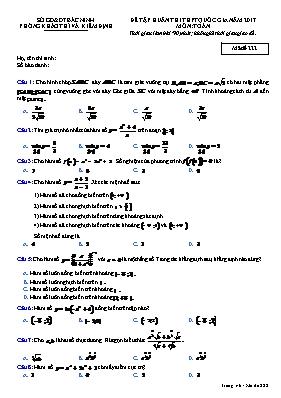 Đề tập huấn thi THPT quốc gia - Môn: Toán - Mã đề 222