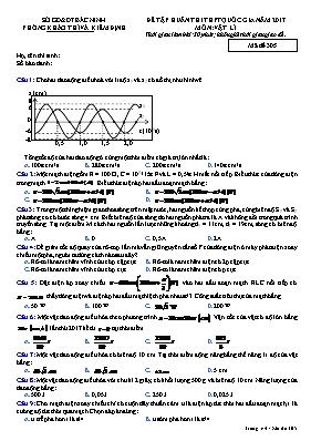 Đề tập huấn thi THPT quốc gia môn: Vật lí - M