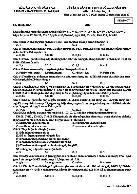 Đề tập huấn thi THPT quốc gia năm 2017 môn: Hóa học lớp 12 - Mã đề 407