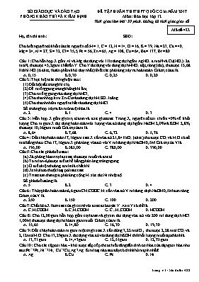 Đề tập huấn thi THPT quốc gia năm 2017 môn: Hóa học lớp 12 - Mã đề 422
