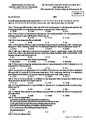 Đề tập huấn thi THPT quốc gia năm 2017 môn: Hóa học lớp 12 - Mã đề 412