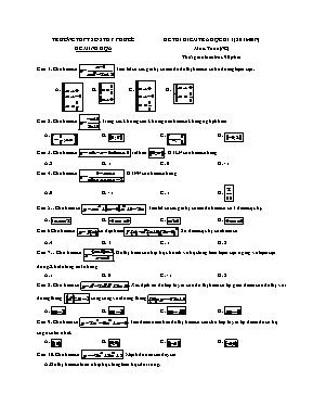 Đề thi kiểm tra học kì 1 môn: Toán (nâng cao)