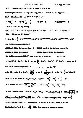 25 câu hỏi trắc nghiệm về Logarit - Ngụy Như