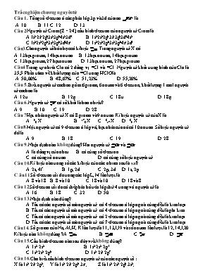50 câu hỏi trắc nghiệm chương 1 Hóa học lớp 1