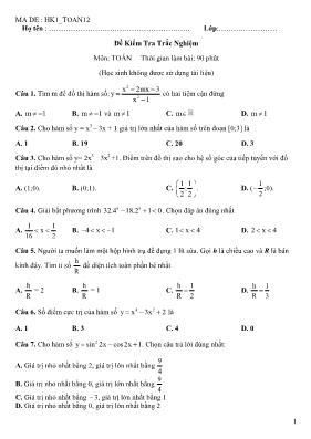 50 câu hỏi trắc nghiệm Toán 12 (Có đáp án)