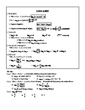 Bài tập trắc nghiệm chương 2 Giải tích 12