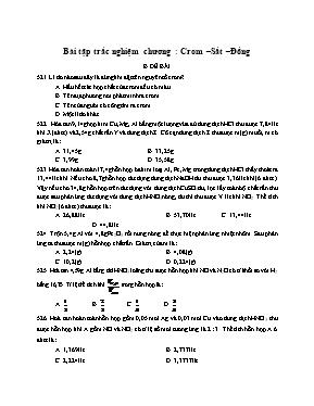 Bài tập trắc nghiệm chương 7 Hóa học lớp 12