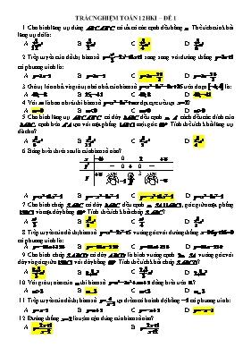 Bài tập trắc nghiệm học kì I Giải tích 12 - Đ