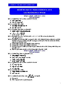 Bộ đề thi học kì I Toán lớp 8 - Năm học 2014-