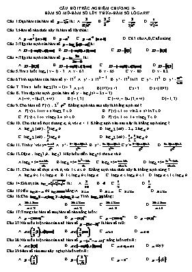 Câu hỏi trắc nghiệm Giải tích 12 - Hàm số mũ,