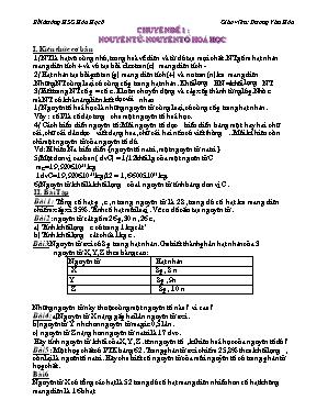 Chuyên đề Bồi dưỡng học sinh giỏi Hóa học lớp