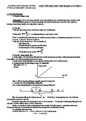 Chuyên đề Chuyển động cơ Vật lí lớp 8 - Trường THCS Cầm Bá Thước