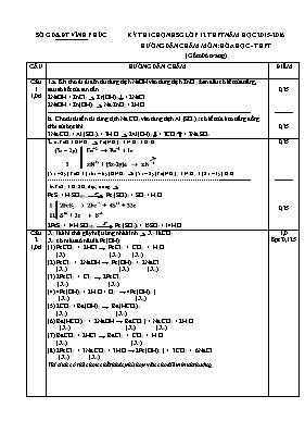 Đáp án đề thi chọn học sinh giỏi Hóa học 12 -