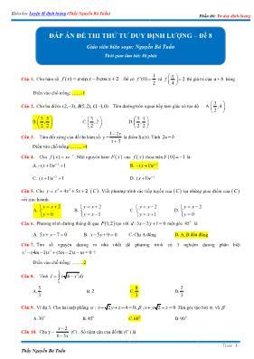 Đáp án đề thi thử tư duy định lượng Toán 12 -