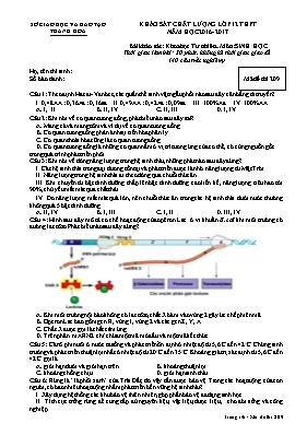 Đề khảo sát chất lượng Sinh học 12 - Mã đề 20