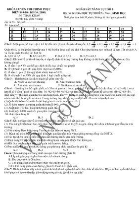 Đề khảo sát năng lực số 2 Sinh học năm học 20