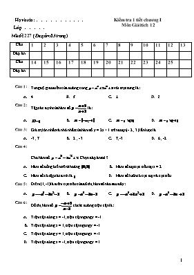 Đề kiểm tra 1 tiết chương 1 Giải tích 12 - Mã đề 227