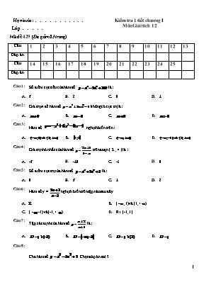 Đề kiểm tra 1 tiết chương 1 Giải tích 12 - Mã đề 429