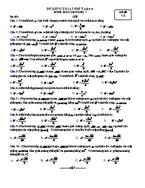 Đề kiểm tra 15p chương 1 Hình học 12