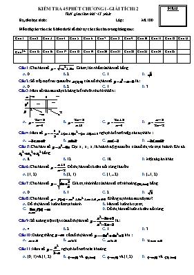 Đề kiểm tra 45p chương 1 Giải tích 12 - Mã đề