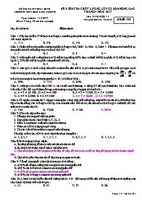 Đề kiểm tra chất lượng Sinh học 11 (Có đáp án
