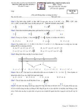 Đề kiểm tra chất lượng Toán 12 - Mã đề 132 -