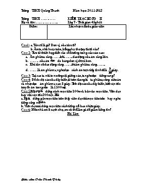 Đề kiểm tra chương 2 Vật lí lớp 7 - Năm học 2