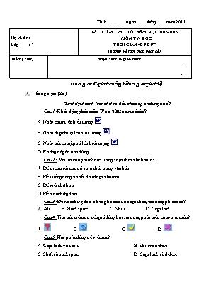 Đề kiểm tra cuối năm Tin học lớp 3 - Năm học