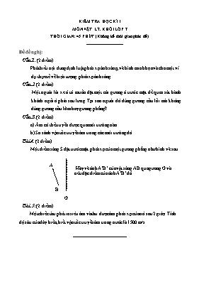 Đề kiểm tra học kì I môn Vật lí lớp 7 (Có đáp