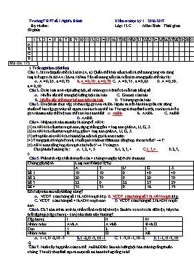Đề kiểm tra học kì I Sinh học 12 (Có đáp án)