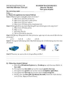 Đề kiểm tra học kì I Tin học lớp 3 (Có đáp án