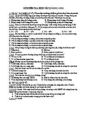 Đề kiểm tra học kì II môn Vật lí lớp 8 - Năm
