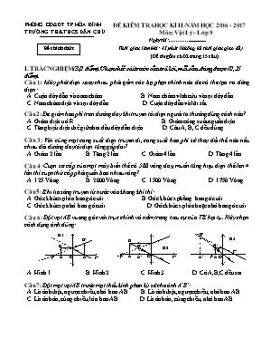 Đề kiểm tra học kì II Vật lí lớp 9 - Năm học