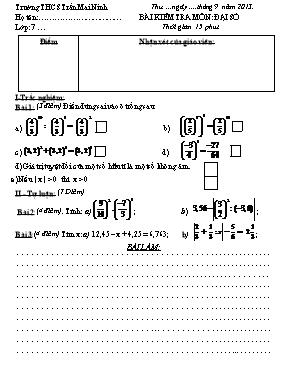 Đề kiểm tra môn Đại số lớp 7 - Năm học 2013-2
