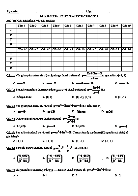 Đề kiểm tra một tiết chương 1 Giải tích 12 (C
