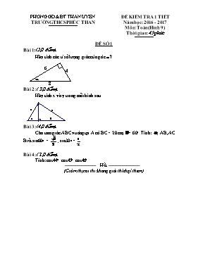 Đề kiểm tra một tiết Hình học lớp 9 - Năm học