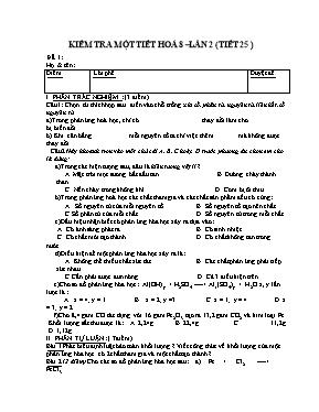 Đề kiểm tra một tiết Hóa học lớp 8 lần 2 - Nă