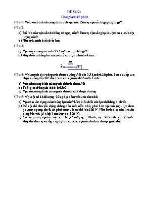 Đề kiểm tra một tiết môn Vật lí lớp 8 - Đề số