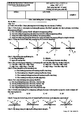 Đề kiểm tra một tiết Vật lí lớp 7 - Mã đề 01