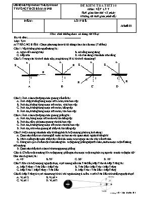 Đề kiểm tra một tiết Vật lí lớp 7 - Mã đề 03