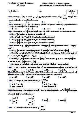Đề kiểm tra Toán 12 - Mã đề 132 - Trường THPT chuyên Sơn La