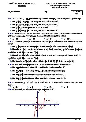 Đề kiểm tra Toán 12 - Mã đề 209 - Trường THPT chuyên Sơn La