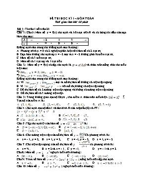Đề kiểm tra trắc nghiệm học kì I Toán 12