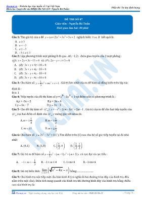Đề luyện thi vào ĐHQG Hà Nội Toán 12 - Đề số