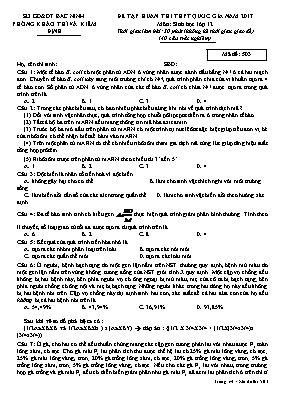 Đề tập huấn thi THPT quốc gia Sinh học 12 - M