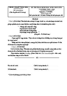 Đề thẩm định học sinh giỏi cấp huyện Ngữ văn